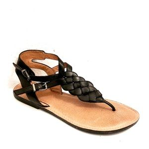 NUTURE LEATHER BRAIDED THONG SANDALS SIZE 9.5M